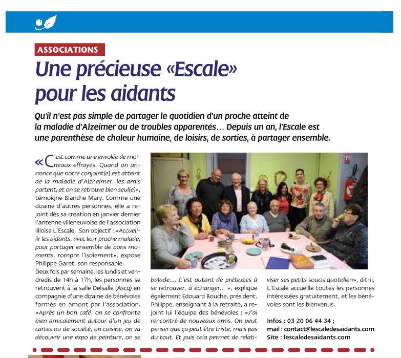Article de la tribune de Villeneuve d'ascq - Décembre 2015 L'escale des aidants